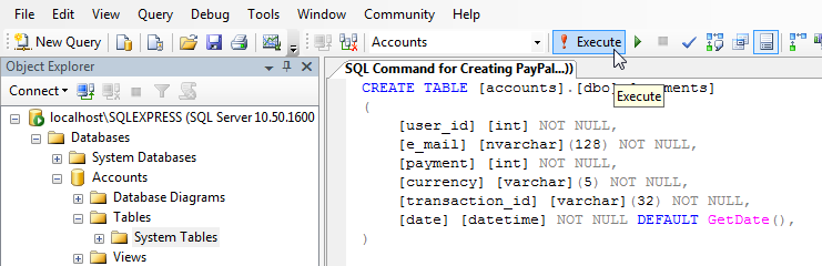 Having the database we can create payments table select for Sql table design query